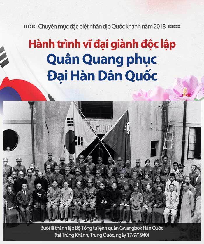 Buổi lễ thành lập Bộ Tổng tư lệnh quân Gwangbok Hàn Quốc (tại Trùng Khánh, Trung Quốc, ngày 17/9/1940)